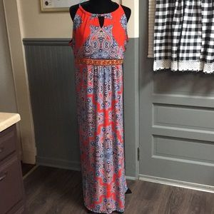 NY Collection Beaded Detail Printed Maxi Dress